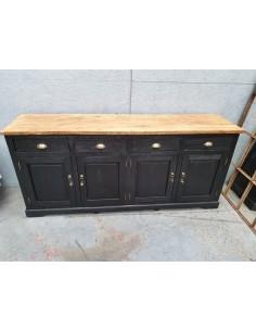 Meuble industriel patine noire enfilade vintage quatre portes
