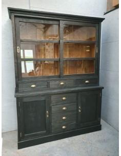 meuble deux corps patine noire sept tiroirs deux portes et deux portes coulissante