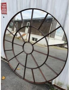 Miroir industriel métallique rond diamètre 152 cm 25 sections