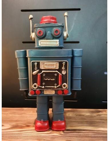 Statue robot bleu en tôle décoration vintage