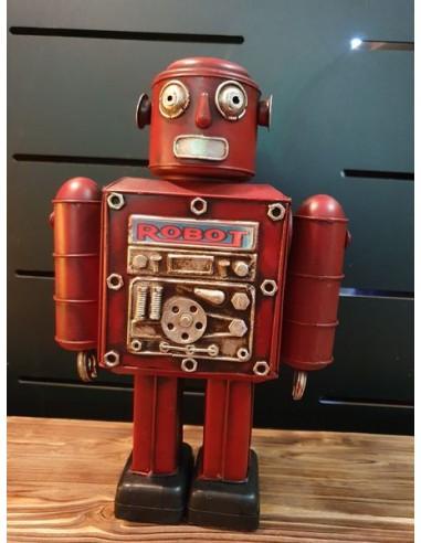 Statue robot rouge en tôle décoration vintage