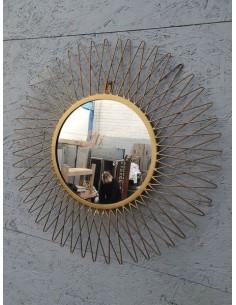 Miroir soleil rond métal doré grand model décoration murale design vintage