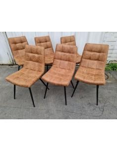 Série de six chaises design marron havane