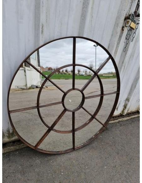 Miroir industriel métallique rond diamètre 102 cm 17 sections