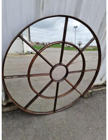 Miroir industriel métallique rond diamètre 100 cm 17 sections