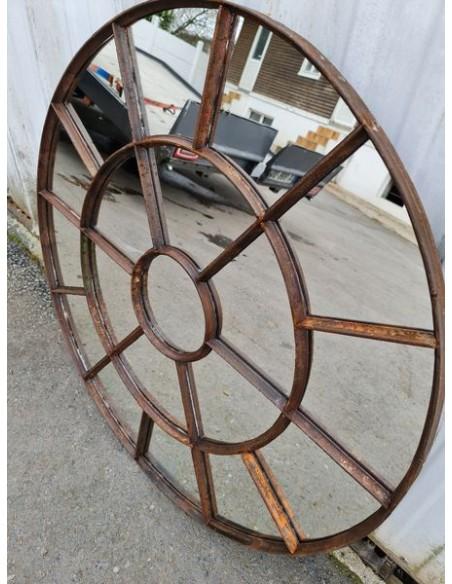 Miroir industriel métallique rond diamètre 95 cm 19 sections