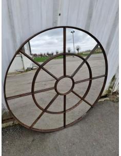 Miroir industriel métallique rond diamètre 116 cm 17 sections