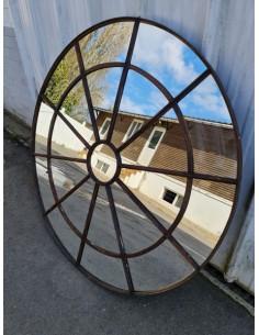 Miroir industriel métallique rond diamètre 131 cm 21 sections