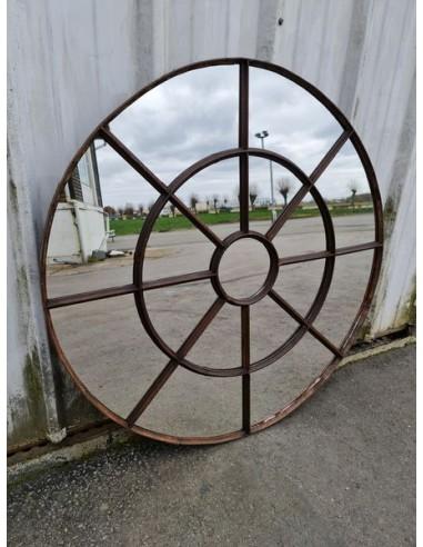 Miroir industriel métallique rond diamètre 112 cm 17 sections