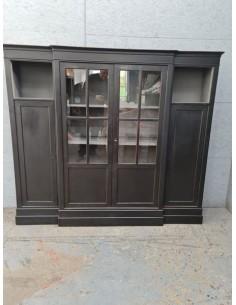 Meuble bibliothèque bureau industriel quatre portes chêne patine noire