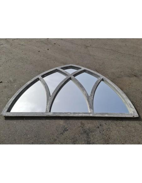 Grand miroir bois cathédrale patine gris blanc six sections