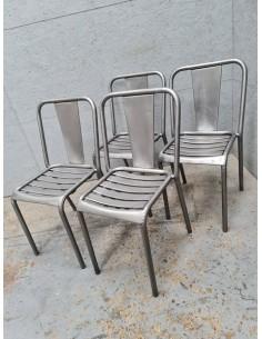 Série de quatre chaises Tolix patine graphite