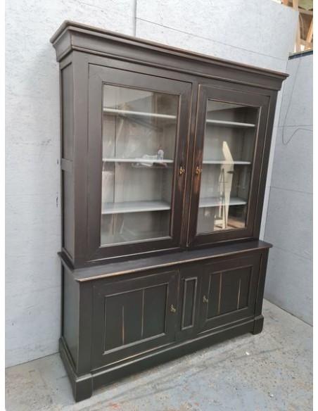 Meuble deux corps vaisselier vintage patine noire vitrine industrielle