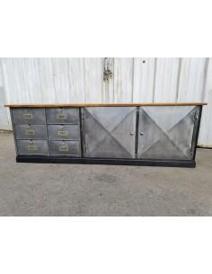meuble bas tv industriel métal et bois clapets ronéo et portes pointe diamant
