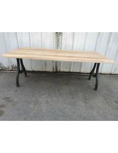 table industriel plateau chêne irrégulier